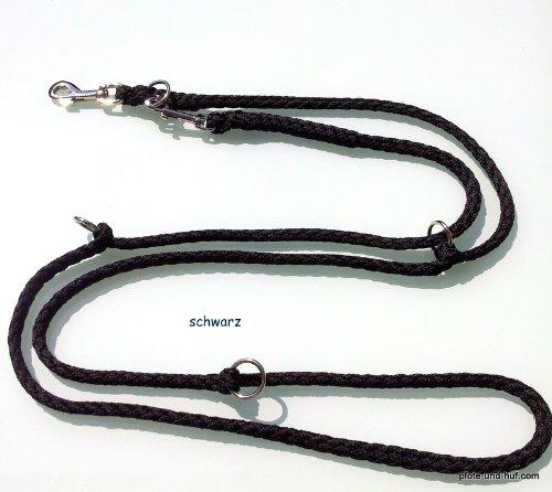 Hundeleine 4 fach verstellbar schwarz